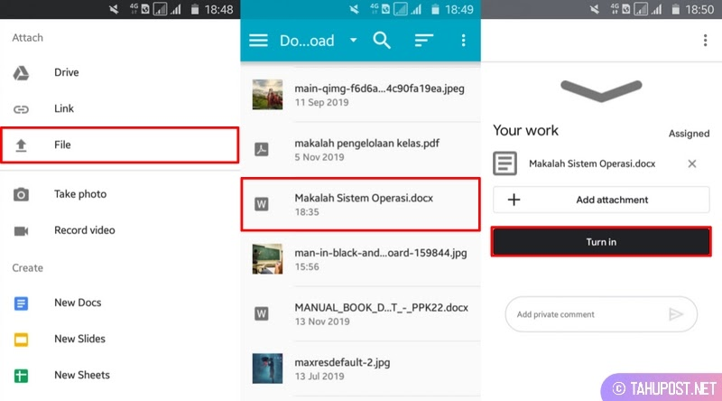 Klik Turn In - Cara Mengirim Tugas di Google Classroom