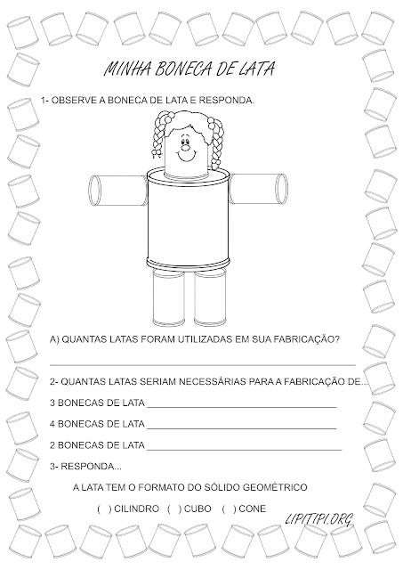 Atividades Alfabetização com a música infantil Minha Boneca de Lata