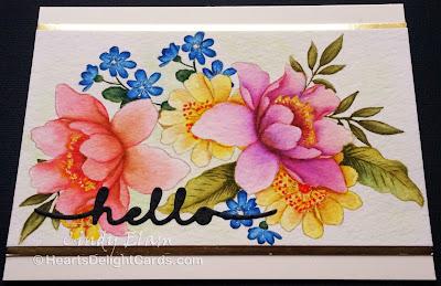 Heart's Delight Cards, Altenew Garden Treasure, Altenew Peony Bouquet, No Line Watercolor