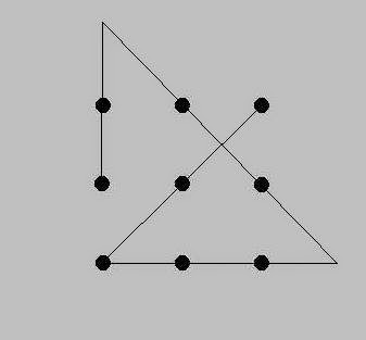 Imagine the pattern of dots below drawn on a sheet of paper. Given 9 Dots Draw 4 Lines Without Picking Up Pen Kodeknight