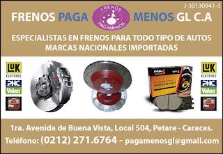 FRENOS PAGA MENOS GL C.A. en Paginas Amarillas tu guia Comercial