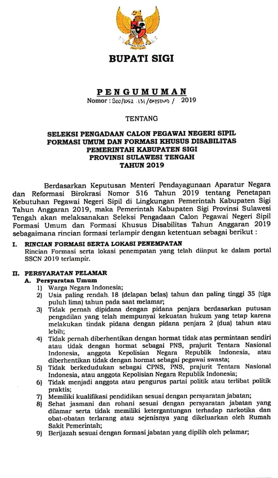 Download Formasi CPNS Kabupaten Sigi Provinsi Sulawesi Tengah Tahun 2019