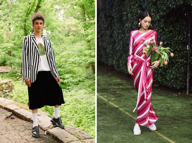 Жакет и платье в контрастную полоску