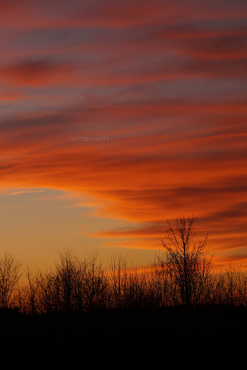 Vibrant evening sky sunset in January