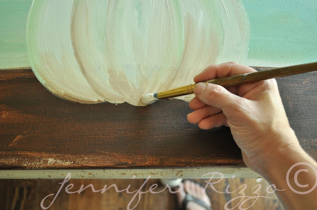 How to paint a pumpkin canvas, art skills not required!!! shading the bottom