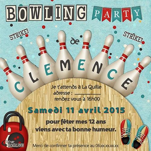 carte anniversaire invitation bowling