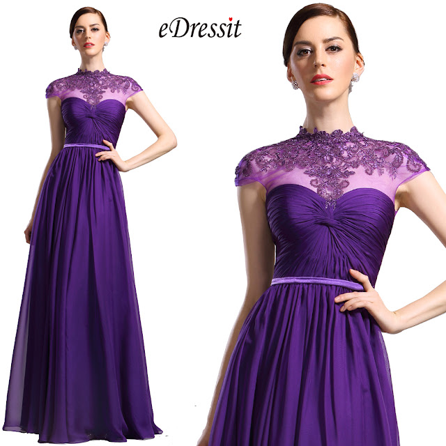 High Neck Purple Evening Dress Formal Wear