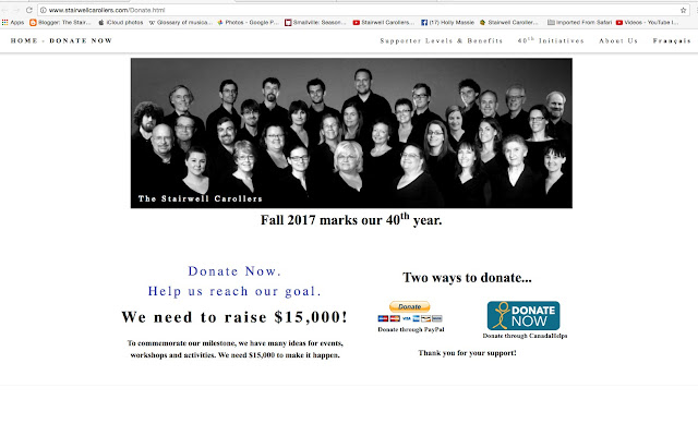 The Stairwell Carollers 40th fundraising page