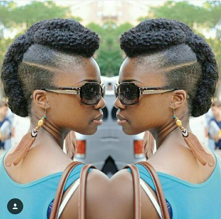 Natural Hair geled and made into an updo style