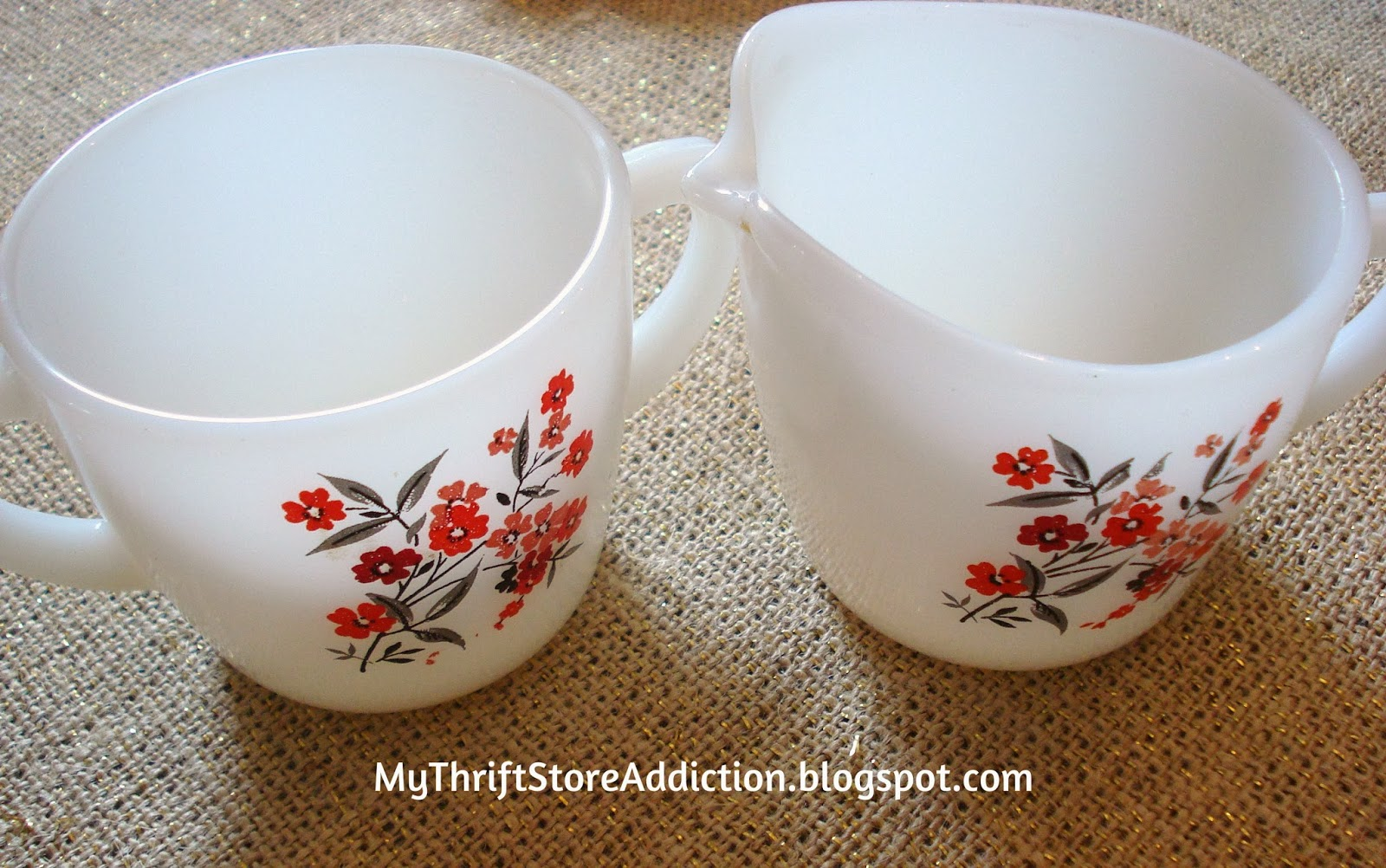 Vintage Fire-King Primrose cream and sugar set