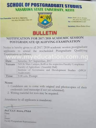 NSUK School Of Postgraduate Studies Notification For 2017/18 Qualifying Examinations