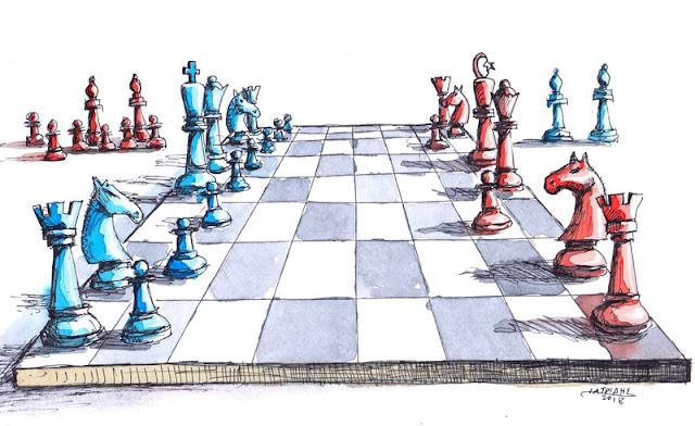 """Σκάκι είναι το θέμα της γελοιογραφίας του IaTriDis για την κρητική εφημερίδα """"'Αποψη του Νότου"""" με αφορμή την ένταση μεταξύ Ελλάδας και Τουρκίας."""