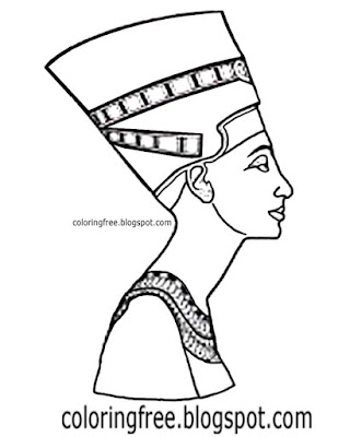 Clipart easy to draw Egypt printable sketch royal head dress Egyptian queen coloring pages for teens