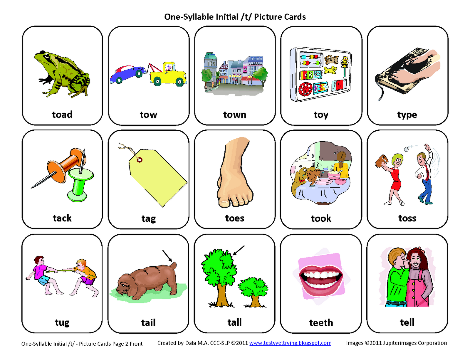 Testy Yet Trying Initial T Free Speech Therapy Articulation Picture Cards