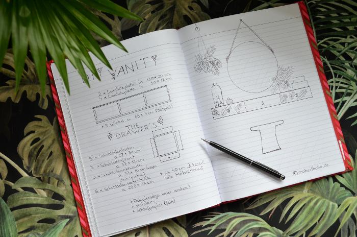 make it boho diy schminktisch mit schubf chern im tropical style. Black Bedroom Furniture Sets. Home Design Ideas