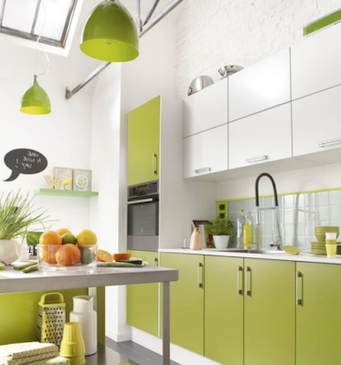 Grassy Green Small Kitchen Ideas