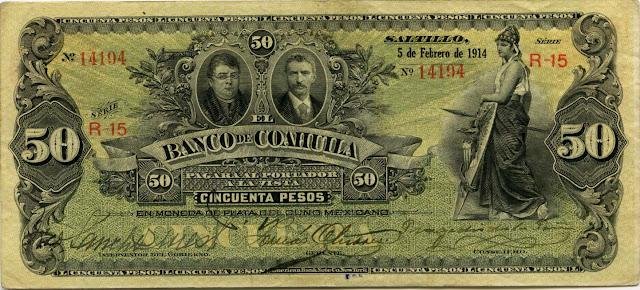 Mexico paper money Pesos