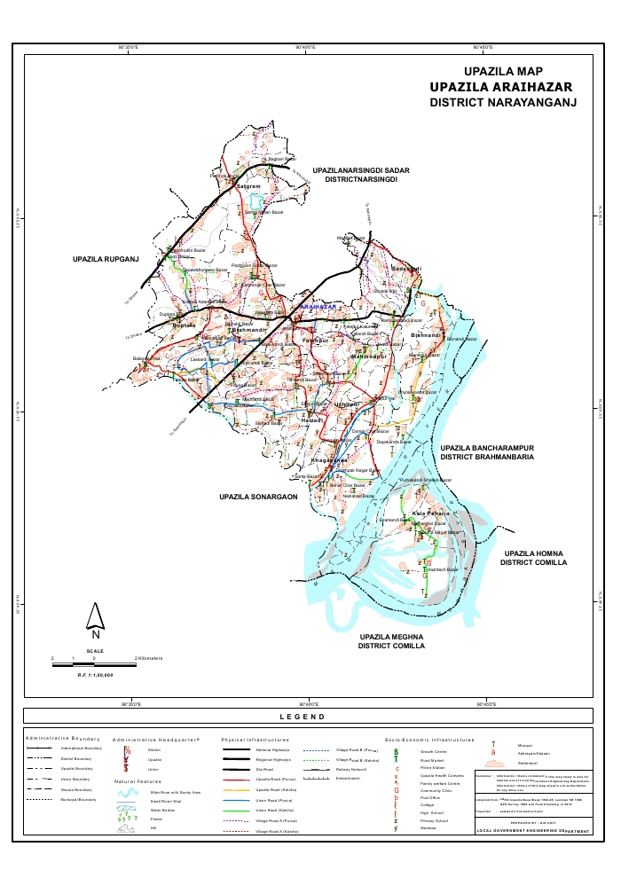 Araihazar Upazila Map Narayanganj District Bangladesh