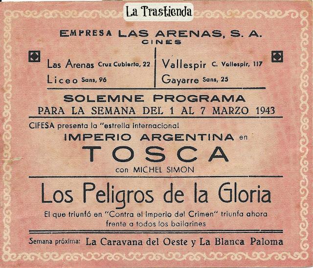 Tosca - Folleto de mano - Imperio Argentina - Rossano Brazzi