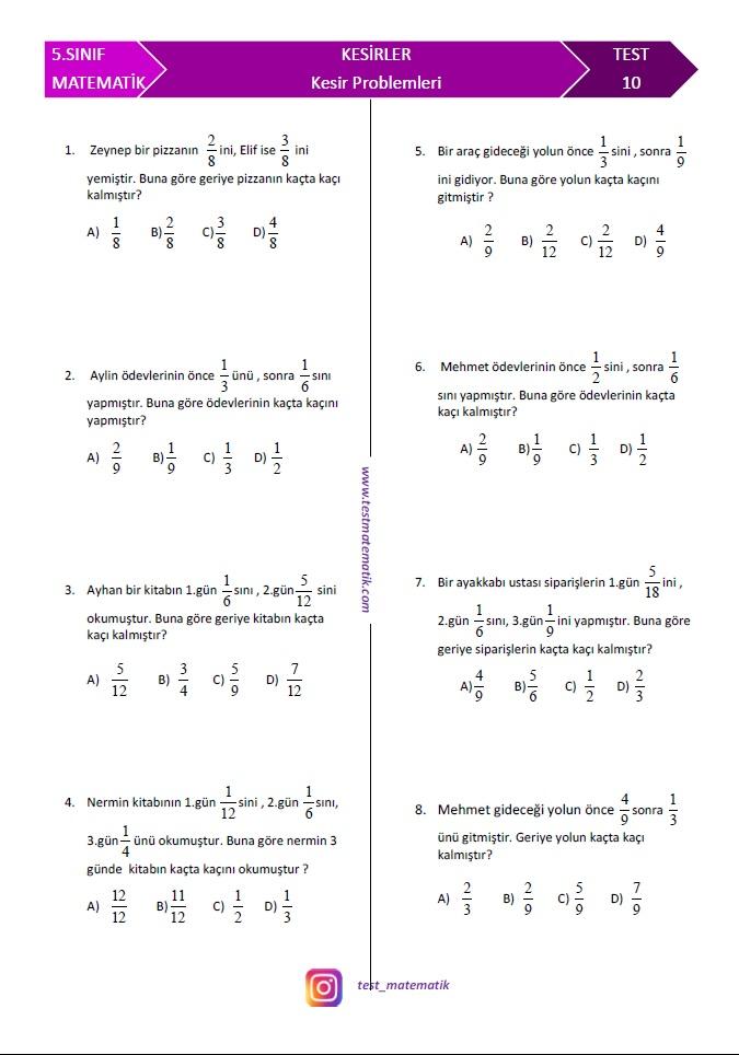 5 Sinif Kesir Problemleri Test Matematik