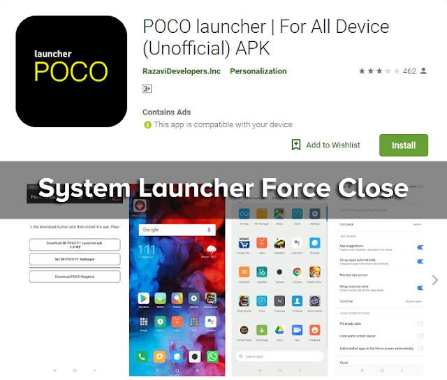 Mengatasi System Launcher Telah Berhenti Setelah menginstall Pocophone Launcher (Unofficial) dari Playstore