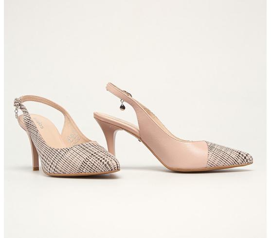 Pantofi de zi cu toc subtire comod cu decupaje roz din piele