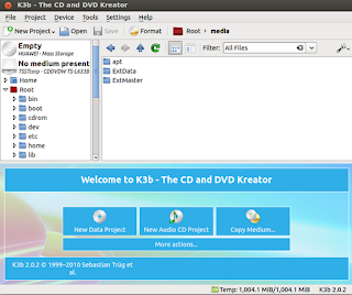 k3b user interface