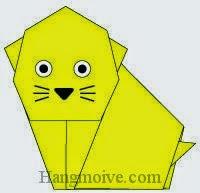 Bước 12: Vẽ mắt, mũi, râu để hoàn thành cách xếp con mèo Kitty bằng giấy theo phong cách origami.
