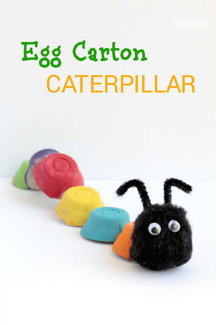 Egg Carton Caterpillar Craft for kids - super cute craft for spring, summer, hungry caterpillar and to use to teach kids about the colors of the rainbow, to put alphabet letters on, and more. ((crafts for kids, kids activities, toddler, preschool, prek, kindergarten)