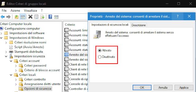Editor Criteri locali mostrare nascondere pulsante spegnimento schermata accesso Windows