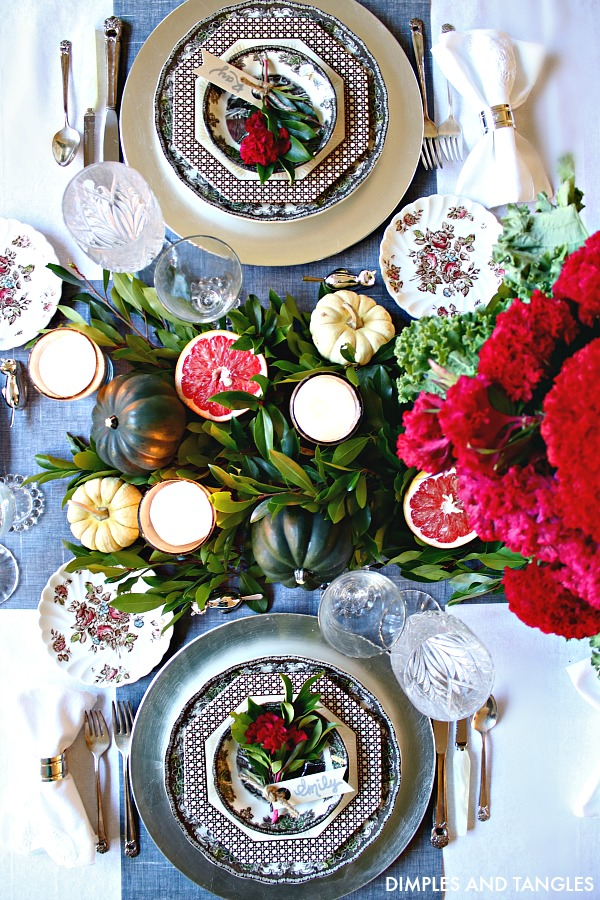 acorn squash, mini pumpkin, grapefruit centerpiece, vintage dishes, thanksgiving tabletop