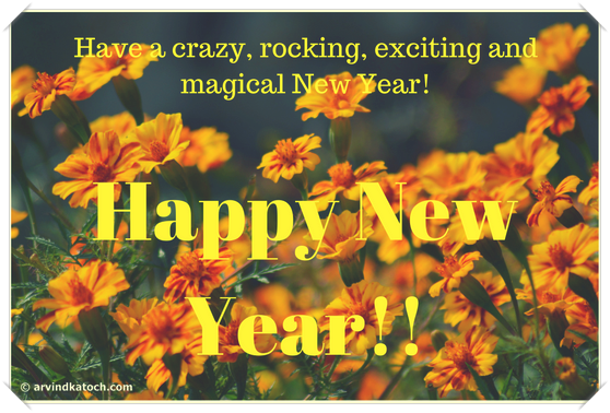 rocking, crazy, magical, new year card,