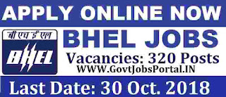 BHEL Recruitment for 320 Technicians 2018