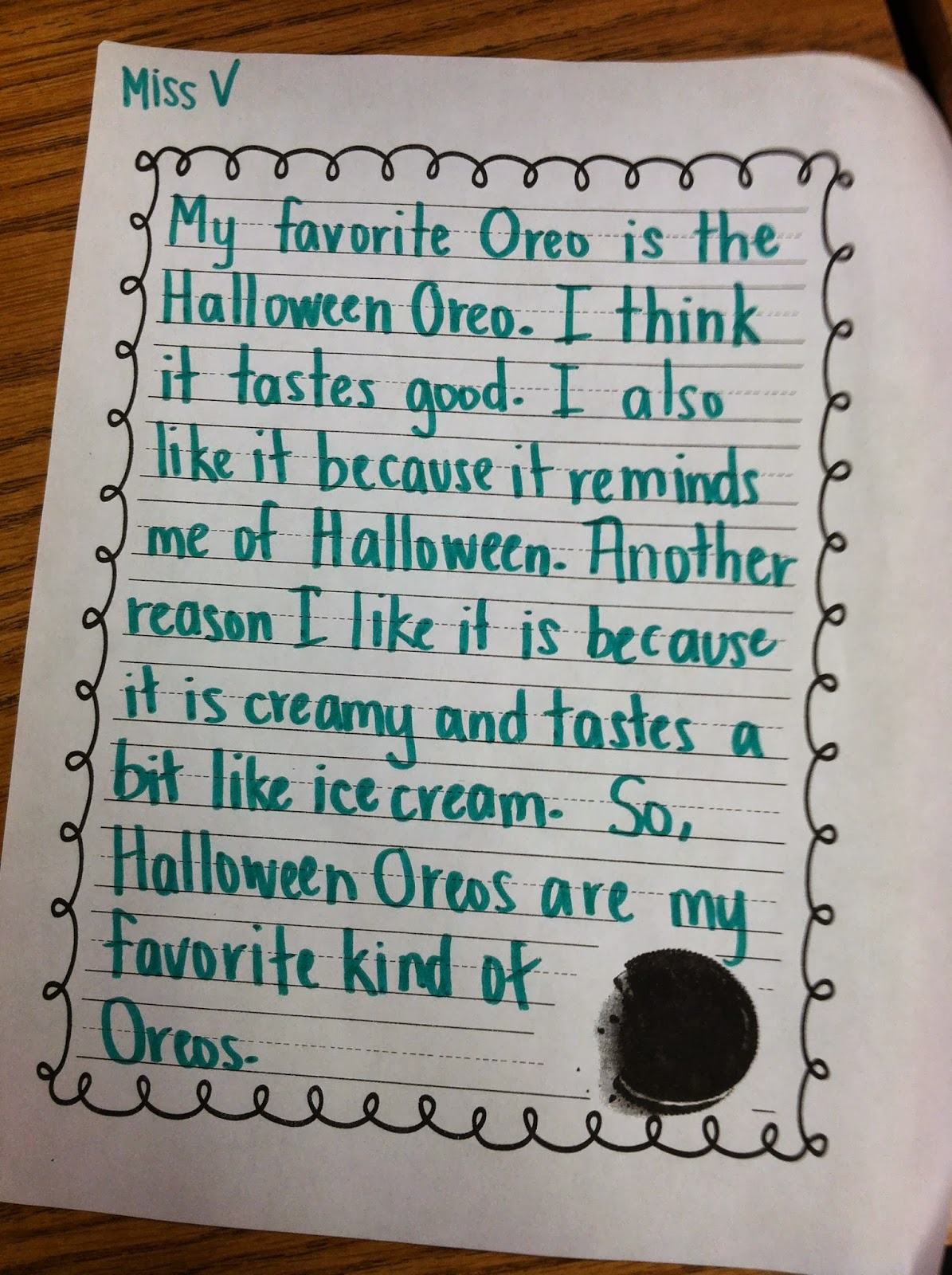 The Oreo Writing
