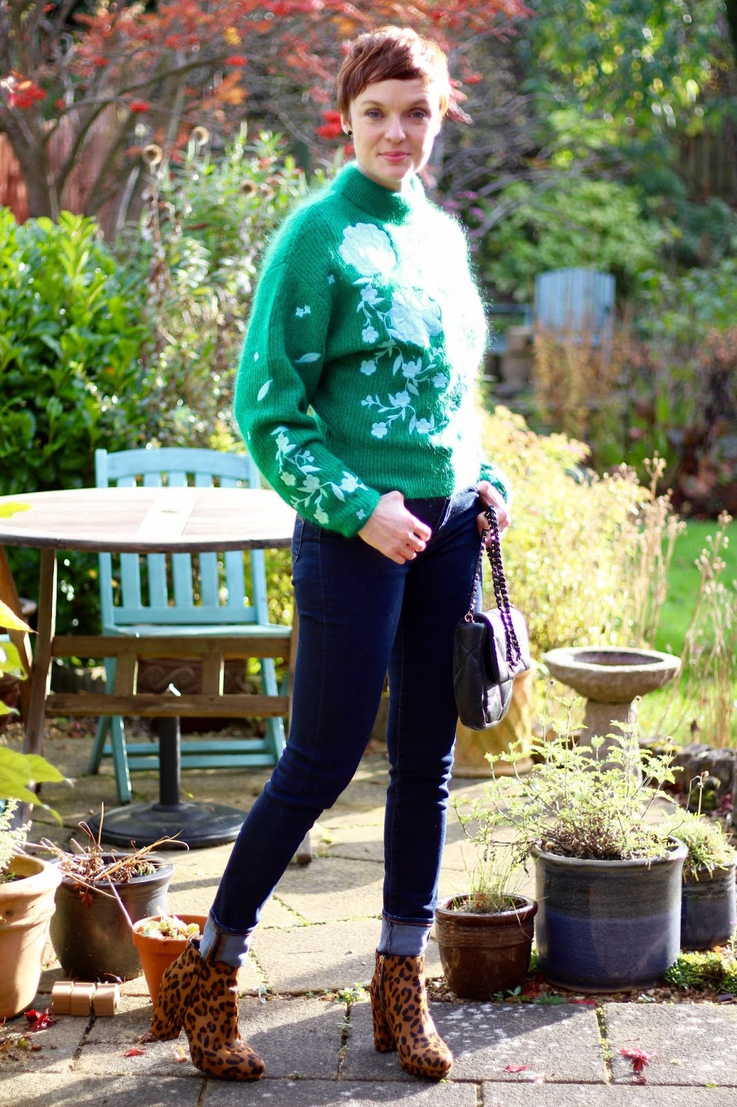 H&M green embroidered mohair jumper, Levis Jeans, Miss KG leopard boots | Fake Fabulous
