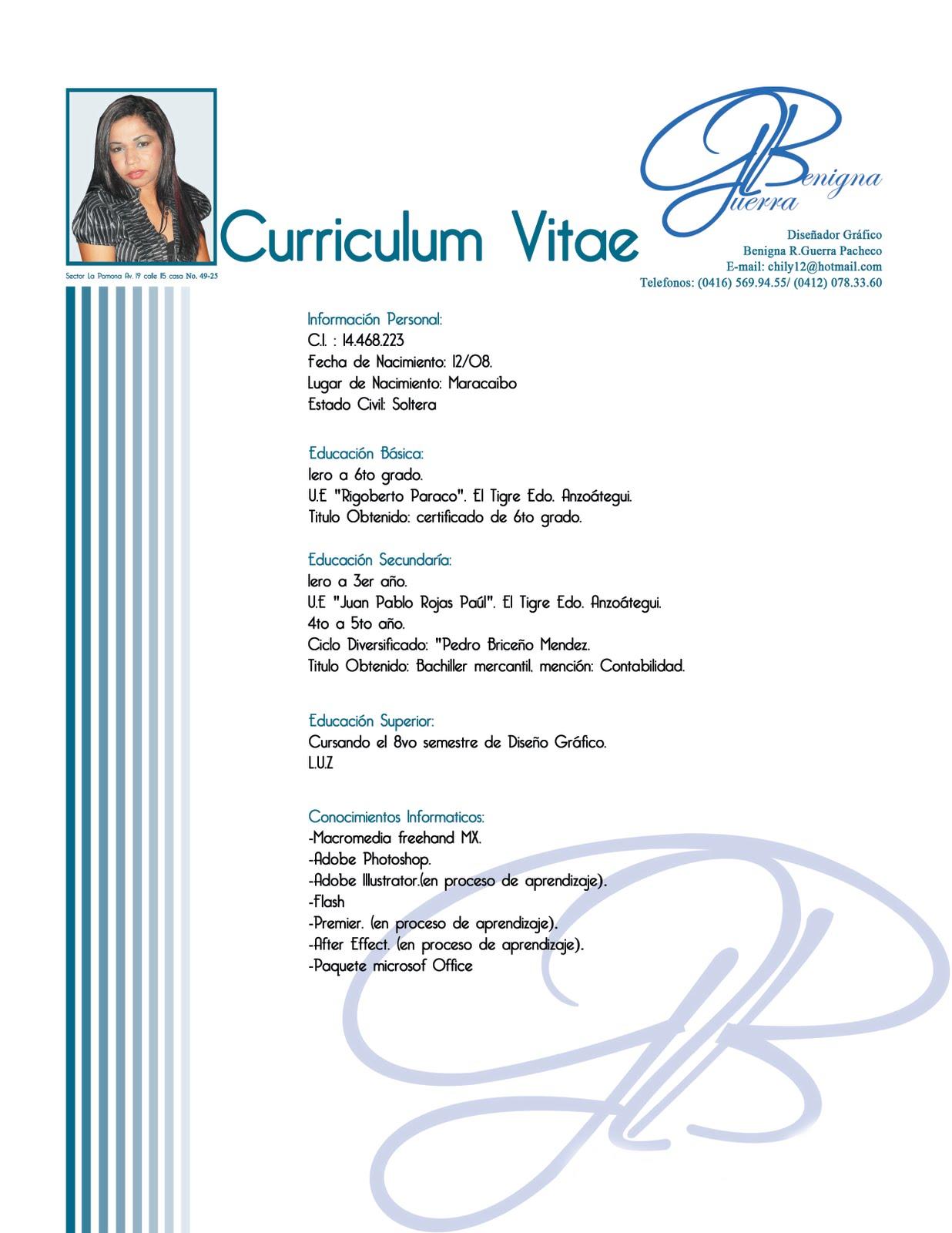 Modelo De Curriculum Vitae Venezuela 2016 - Modelo De Curriculum Vitae