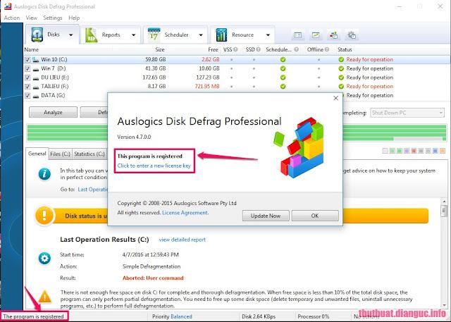 auslogics disk defrag professional serial