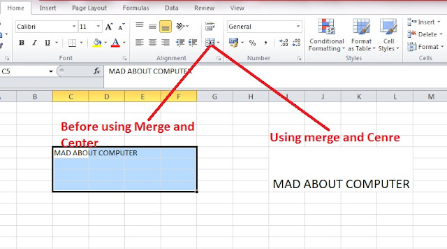how to use merge and center in excel 2013