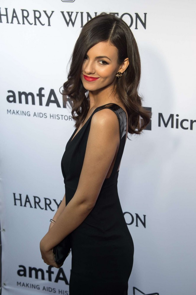 Victoria Justice in a sexy black dress at the 2015 amfAR Inspiration Gala