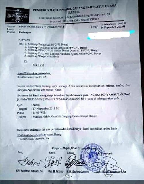 Beredar Undangan NU Untuk Sambut Ma'ruf Amin, KH. Najib: NU Jangan Dijadikan Alat Politik!