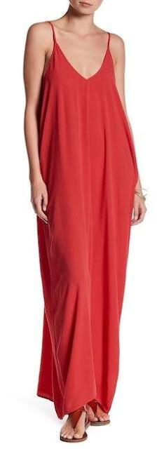 Stitch-Gauze-long-red-sleeve-less-Maxi-Dress