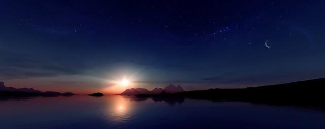 Sol, lua e estrelas vistos ao mesmo tempo sobre a Terra