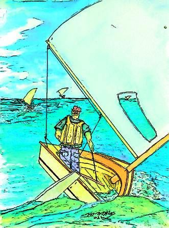 Small sailboats racing- Original water color by Matt Maloy