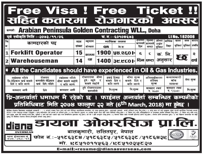 Free Visa Free Ticket Jobs in Doha, Qatar for Nepali, Salary Rs 54,260