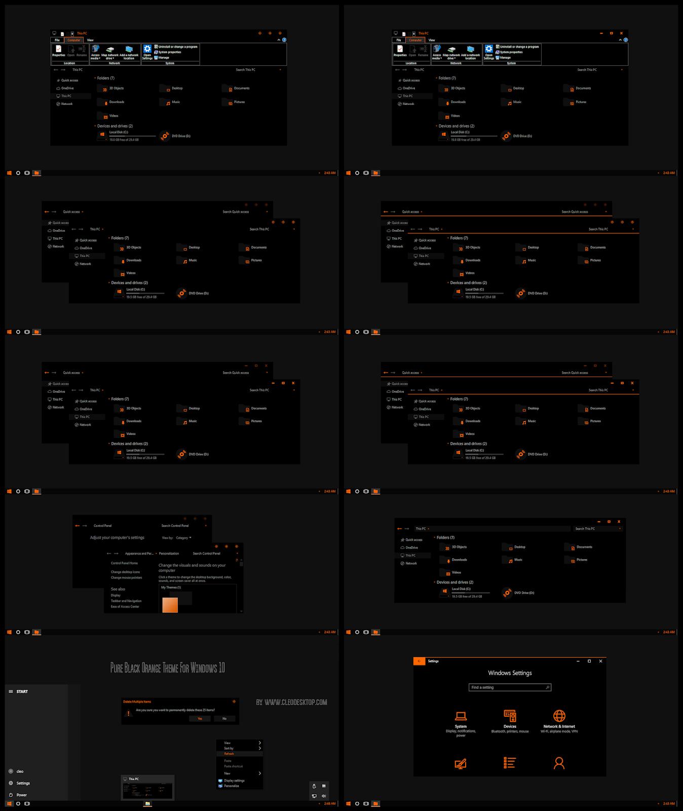 Pure Black Orange Theme For Windows10 2004