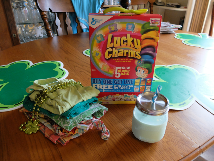 The Naughty Leprechaun Story - green outfits, green milk, Lucky Charms