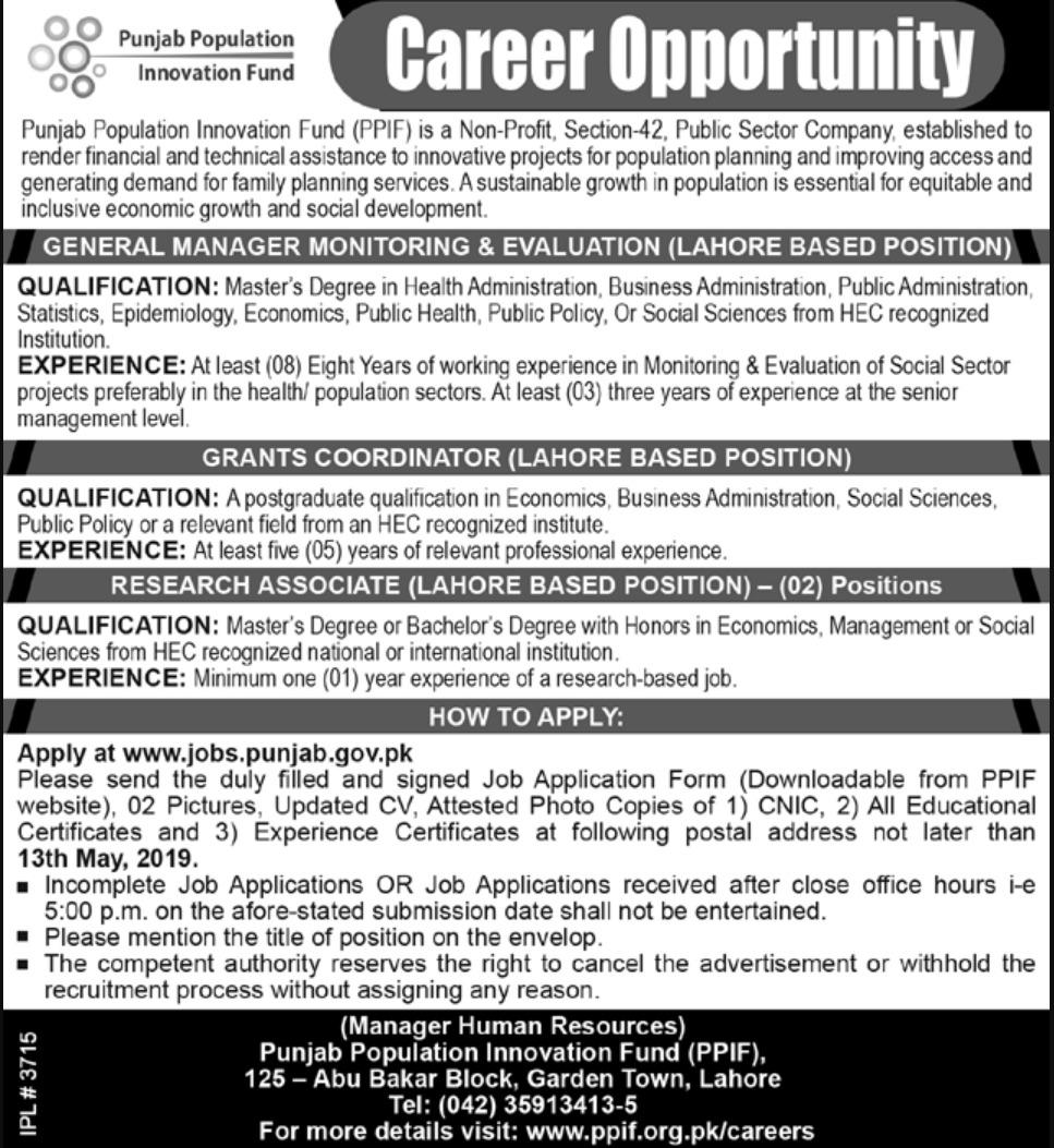 Punjab Population Innovation Fund PPIF Lahore Jobs 2019