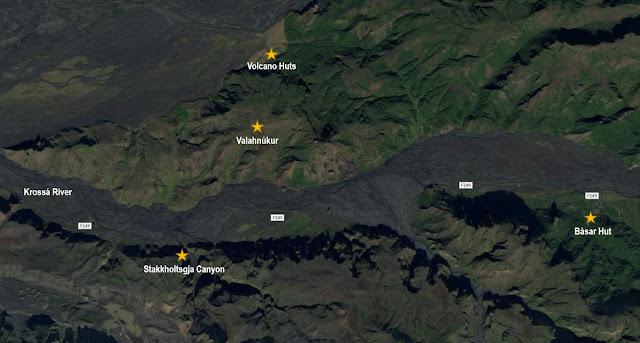 Mapa de Thórsmörk, Islandia