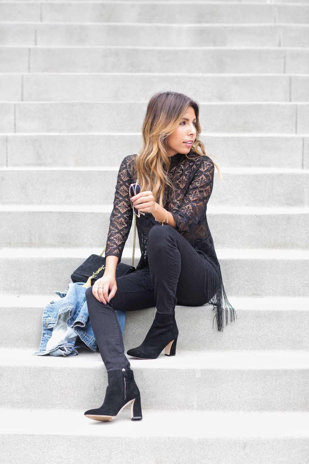 lace top zara, how to wear all black, denim jacket styles, black boot outfit for fall