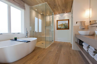 Decoración del cuarto de baño con obra de arte paisaje de Emiliano Garcia Tur